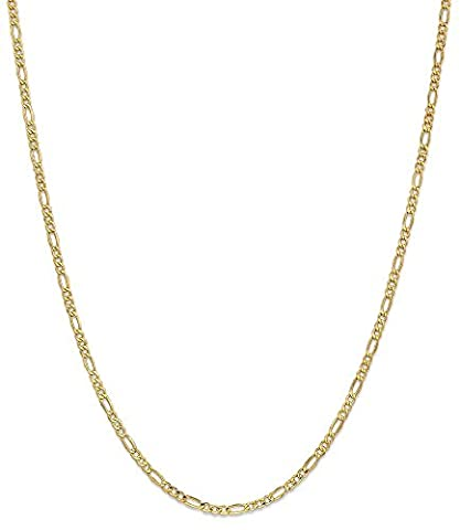 IceCarats 14k Yellow Gold 2.5mm Link Figaro Chain Necklace 24 Inch