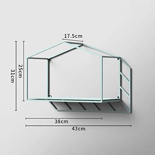 Eisen Kunst Regal, Bücherregal Kreative Einfache Persönlichkeit Wohnzimmer Studio Personalisierte Esszimmer Wandmontage Utility Geometrie Schatten Haus 43 cm * 17,5 cm * 31 cm Lagerregale (Farbe: C) -