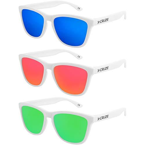 X-CRUZE 3er Pack X0 Nerd Sonnenbrillen polarisierend Vintage Retro Style Stil Unisex Herren Damen Männer Frauen Brillen Nerdbrille Nerdbrillen - weiß matt LS - Set P -