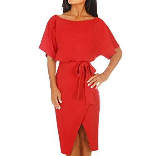 Honestyi Frauen Kurzarm Wrap Taille Krawatte Split Minikleid Damen Sommer Sommerkleid Urlaub 101039# Damen Rundhalsausschnitt mit Fledermausärmeln(Rot,XL) - Kurzarm-wrap