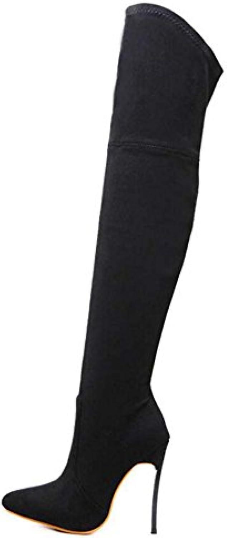 Botas altas de muslo 12cm Scarpin apuntó botas de rodilla de la elasticidad del dedo del pie zapatos de vestir...