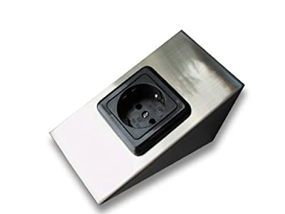 Aufbau-Steckdose, Stahl gebürstet mit Kinderschutz und VDE-Zeichen von Dreamlights2000®