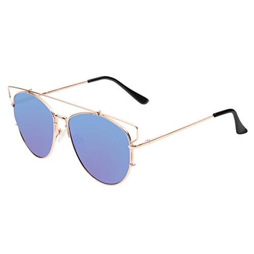 Polarisierte Katzenaugen Sonnenbrille Reflektierenden Spiegel Flat Lens Flieger-Sonnenbrille 86472B(Gold,Blue)