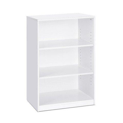 Furinno Laptoptisch Jaya einfach Home 5-Shelf Bücherregal, weiß, Holz, schwarz, 3-Tier (3 Tier Bücherregal)