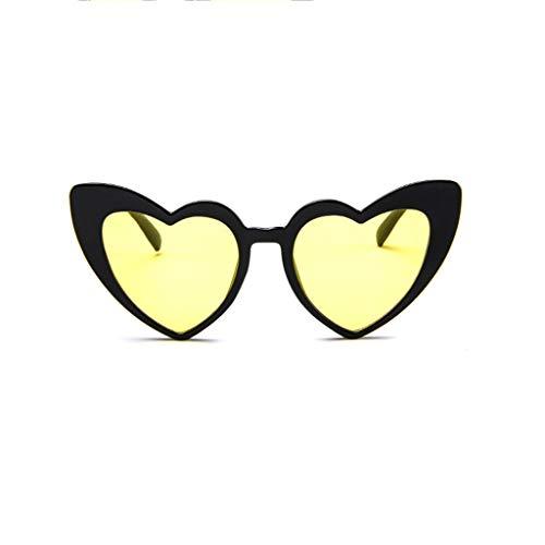 xmansky Retro HerzföRmige Dicke Border-Sonnenbrille Verspiegelte BrillengläSer Eyewear Einfacher Stil Mode Outdoor-Brille