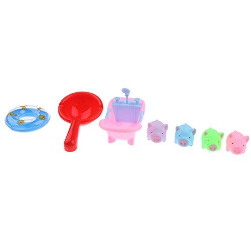 Homyl Puppenhaus Miniatur Kunststoff Wasserbad Tiermodell Spielzeug Set - Schwein (Miniatur-kunststoff-schwein)