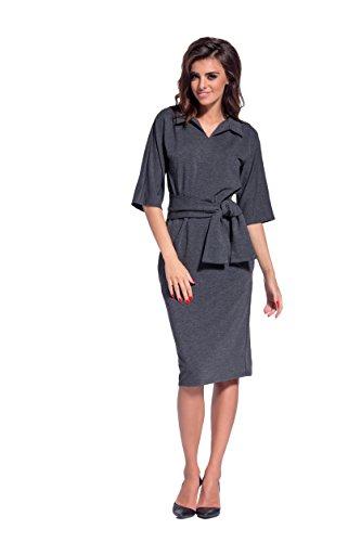 AmazingGirl Kleid Abendkleid Partykleid Elegant MidiKleid Sportkleider Grafit