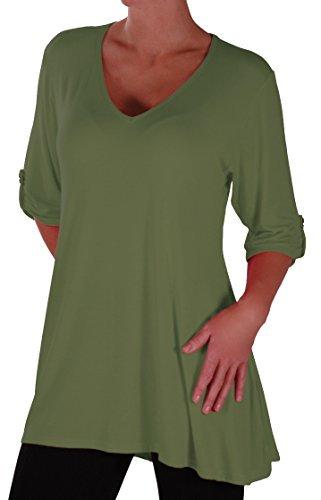 Eyecatch Plus - Shellie Damen V-Ausschnitt Tunika Übergröße Frauen Ausgestelltes Langes Top Khaki Gr. 46 (Khaki Plus)