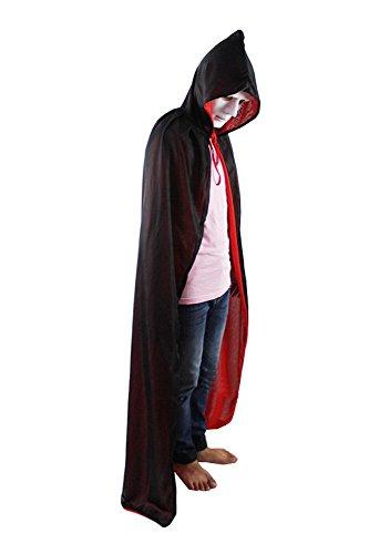 Kostüm Cape mit Kapuze für Halloween Schwarz (Cape Für Halloween)