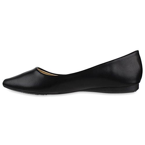 Klassische Damen Ballerinas Metallic Schuhe Spitze Schuhspitze Schwarz