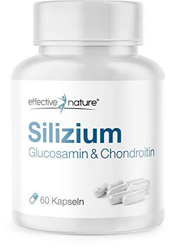 Pflanzliches Silizium mit Glucosamin & Chondroitin – mit Zink und natürlichem Vitamin C aus der Acerola-Kirsche – 60 vegane Kapseln aus Bambusextrakt