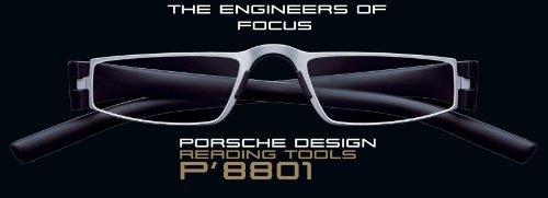 Porsche Design Lesebrillen Modell P'8801 ~ Dioptrien: +2,00 ~ Fassungsfarbe Titan Matt Schwarz Matt ~ Fertiglesebrille mit ergonomisch geformten Bügeln aus Hightech-Kunststoff und Mittelteil aus Edelstahl. Der Materialmix macht sie besonders stabil, leicht und angenehm zu tragen