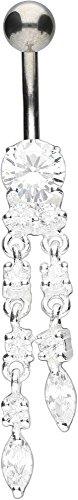 PIERCINGLINE Bauchnabelpiercing Titan Bananabell mit 925er Silber-Design ZWEI KETTCHEN 10 mm Stablänge Kristallklar