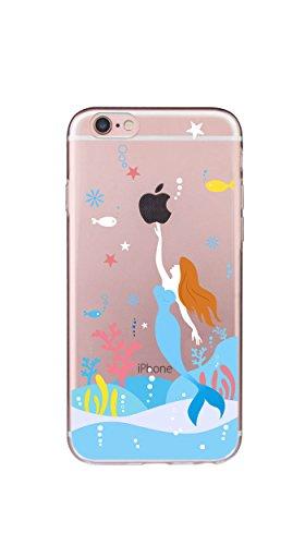 Case Cover Per iphone 6 6S 4.7 pollici Trasparente TPU Gel Silicone Bumper Protettivo Skin Custodia Ultra-sottile Flessibile morbido Protettiva Shell(Dente di leone) Sirena