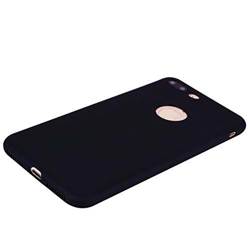 [2 Pieces] Cover iPhone 7 Plus (5.5),ToDo Custodia iPhone 7 Plus (5.5) Gel Silicone TPU Morbido Elegant Ultra Tinta Unita Sottile Opaco Flessibile Gomma Cassa Protettiva Antiurto AntiGraffio Antisci Nero