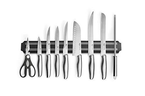 Magnani® Set coltelli Professionali da Cucina | coltelli Fatti a Mano in Acciaio Inox | Completi di Custodia e Banda Magnetica per Fissaggio al Muro | 9 Pezzi