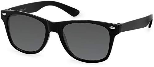 styleBREAKER Kinder Sonnenbrille, klassiches Retro, Nerd Design 09020056, Farbe:Gestell Schwarz/Glas Grau Volltönung