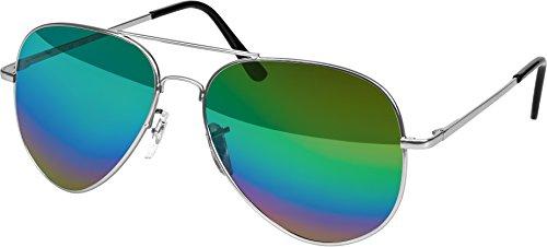 rille Sonnenbrille 70er Jahre Herren & Damen Sunglasses Fliegerbrille verspiegelt (Silver - Rainbow) (70er Jahre Männer Outfits)
