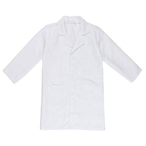 Freebily Unisex Arzt Kostüm Kinder Arztkittel Kinderkostüm Ärztin Labor Kittel Mantel für Mädchen & Junge 4-14 Jahre Weiß 128-140 / 8-10 Jahre (Halloween-kostüm Kittel)