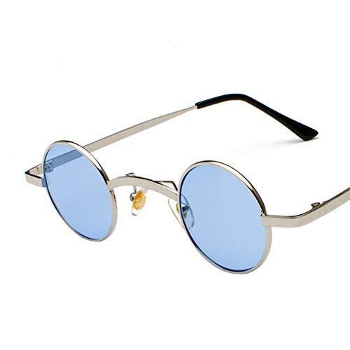 CHENGZI Kleine Runde Sonnenbrille Männer Kleine Steampunk Brille Damen Metall Eyewear