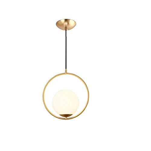 Dänische Nordic Moderne runde Glaskugel Kronleuchter für Schlafzimmer Cafe Restaurant Bar Innenleuchte Dekor, Anhänger Gold 2, Dia200mm # 965 - 965 Anhänger