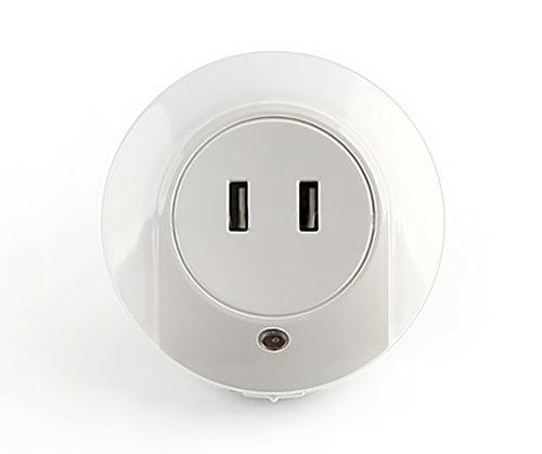 Doppel-USB-Ladegerät, LED-Nachtlicht kreative Vielseitigkeit und Lichtsteuerung Sensor Nachtlicht Tablet-Telefon Doppel-USB-Ladegerät