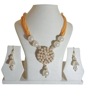 Jewellery Expert Orange-colour-Pearls Necklace Set for Women