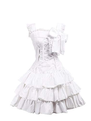 lle Rüsche Fliege Spitze Klassiker viktorianisch Knielang Elegant Lolita Cosplay Kleid,M ()