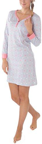 eec3baaf3c0027 Consult-Tex Ladies/Women 100% Cotton Longsleeve Nightdress Nightshirt  Button Panel Grey