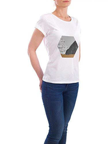 "Design T-Shirt Frauen Earth Positive ""Marble Octagon"" - stylisches Shirt Geometrie von Paper Pixel Print Weiß"