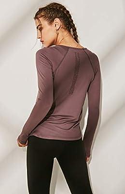 Win2free Funktionsshirt Damen Sport Langarm T Shirt Rundhalsausschnitt Oberteile Tops Basic Tee Violett - S
