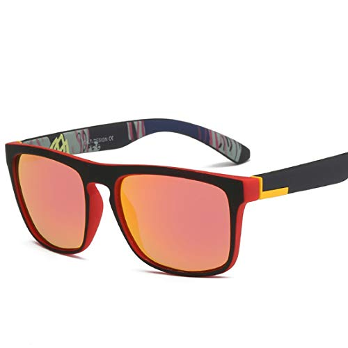 WULE-RYP Polarisierte Sonnenbrille mit UV-Schutz lassic quadratische Form umrandete Sportsonnenbrille UV400 Schutz Fahren Radfahren Laufen Angeln Golf Superleichtes Rahmen-Fischen, das Golf fährt