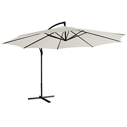 Jalano Sonnenschirm freischwebend in 7 Farben Ampelschirm 350 cm Durchmesser, Gartenschirm inkl. Schutzhülle und Fusskreuz - höhenverstellbarer Kurbelschirm (Weiß)