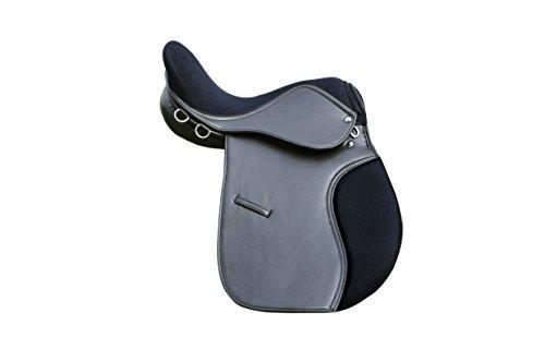 Synthetik Allgemeine Zwecke Sattel mit Wildleder Sitz Premium hochwertig Weite Passform, Schwarz und Braun 16, 17& 18Größe erhältlich schwarz schwarz 43 cm