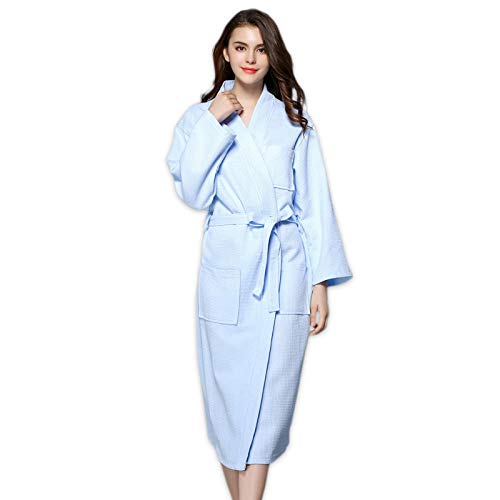 Home + Bathrobe Sencillo Gofre Azul