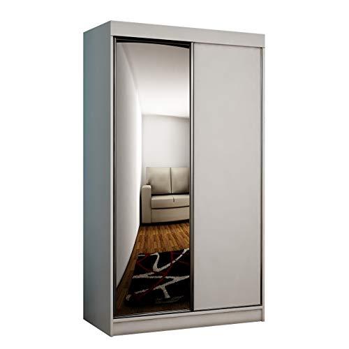 Mirjan24  Kleiderschrank Toplo 100 II, Elegantes Schlafzimmerschrank, Spiegel, 100 x 200 x 62 cm, Dielenschrank, Garderobenschrank, Schwebetürenschrank (Weiß, ohne Beleuchtung) -