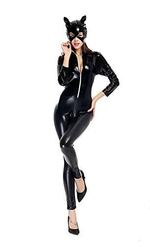 Dan Plus Größe M-XXL Sexy Black PVC Bodysuit Catwoman Kunstleder Catsuit Erotische Wet Look Bodycon Fetisch Overall Kostüm (XXL)