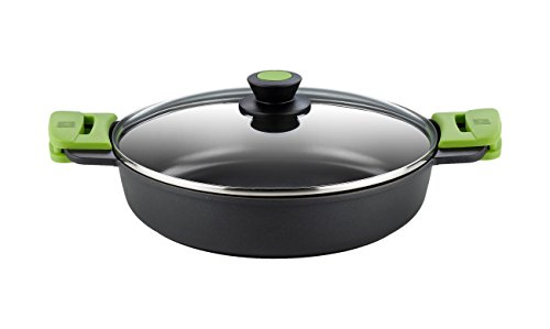 BRA PRIOR - Cacerola baja con tapa de cristal y asas de silicona, apta para todo tipo de cocinas incluida...