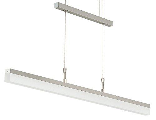 Trango Design dimmbare LED Pendelleuchte in Nichel matt TG2014-042A I Esstischleuchte höhenverstellbar I LED Hängelampe I Deckenleuchte I LED Wohnzimmerlampe I Deckenstrahler I Innenleuchte