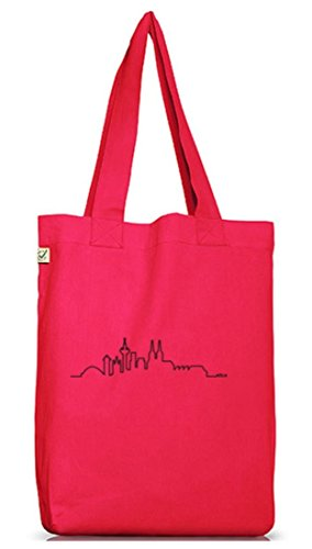 Shirtstreet24, Skyline Köln, Kölle Cologne Jutebeutel Stoff Tasche Earth Positive (ONE SIZE) Hot Pink