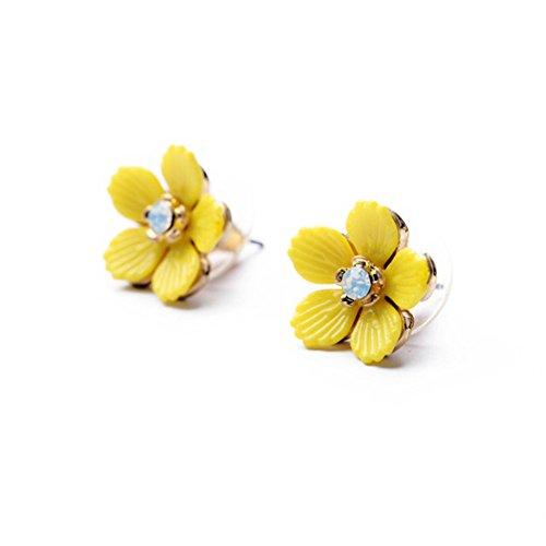 Hosaire Pendientes de Flor Amarilla Moda Muchachas de las Mujeres Pendientes de Botón Nuevo Estilo para Mujeres de la Joyería Accesorios