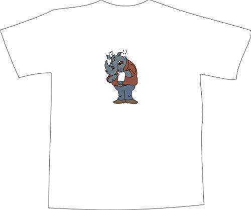 T-Shirt E603 Schönes T-Shirt mit farbigem Brustaufdruck - Nilpferd Vertrag Mehrfarbig