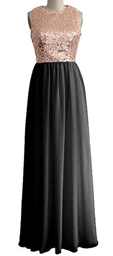 MACloth - Robe - Trapèze - Sans Manche - Femme Rose Gold-Black