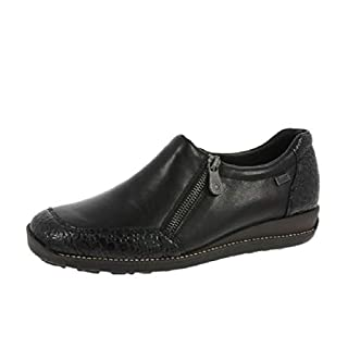 Rieker 44294-45 Black Leather/Patent Water Resistant Shoe 36