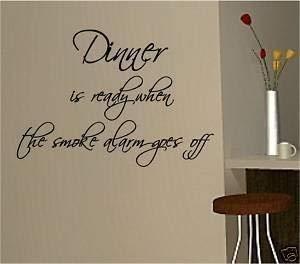 Online Design Abendessen Bereit Rauchmelder Wanddekor Aufkleber Vinyl Küche - Blau