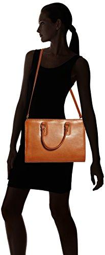 Borsa a cartella da donna con manici, modello italiano, Vera Pelle 100% Made in Italy Cuoio