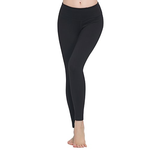 Lover-Beauty Damen klassisch Elastic Sport Leggings Yoga Pants Schwarz Lang