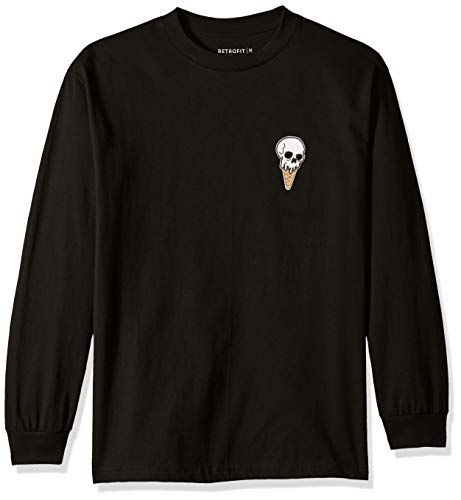 Heavyweight Long Sleeve Tee (Retrofit Sportswear Herren Ice Cream Skull Long Sleeve Patch Tee T-Shirt, schwarz, Klein)
