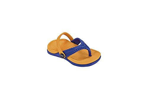 Fashy 7403- Kinder Badeschuhe Zehenslipper Gr. 24-29 in 2 Verschiedenen Farben Zehentrenner Badelatschen (25, Orange/Blau)