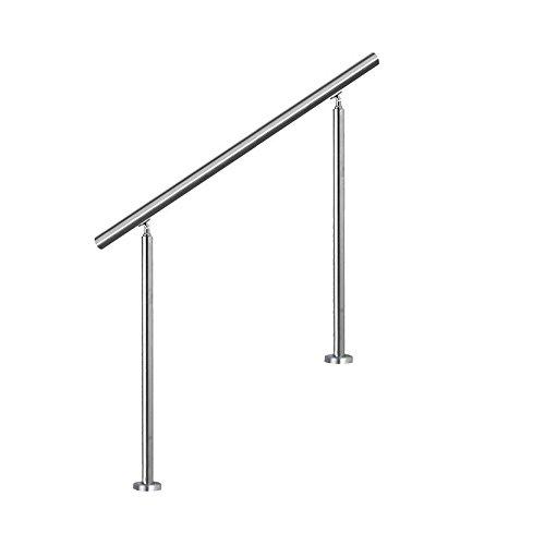 MCTECH® Geländer Edelstahl Handlauf Treppengeländer 2 Pfosten mit/ohne Querstreben für Treppen Balkon Brüstung (80cm, ohne Querstreben)